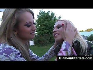 Glamorous lesbian sluts finger each other