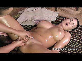 Huge tits brunette lesbo getting erotic massage