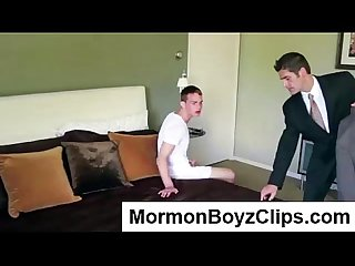Young Mormon twink jerks off for older gay guy in bedroom