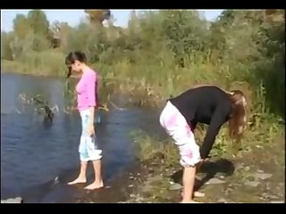 Two 18yo chicks naked by The river
