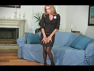 Sexy quim in black pantyhose