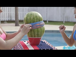 Camsoda teens with big ass and big tits make a watermelon explode with rubber ba