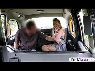Huge boobs amateur blonde passenger screwed in the taxi