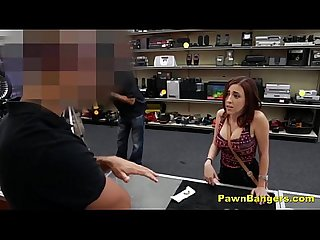 Busty brunette babe sucks and fucks for easy dollars
