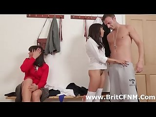 British CFNM women strip man in gym threesome