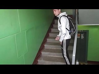 Russian guy masturbates on the phone camera in the stairwell