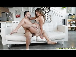 Keilani blows and rides stepdads cock
