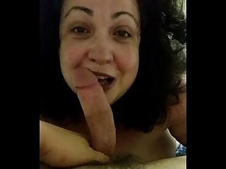 Mature bbw sucks the cum out of a young guy she met through milfhoookup com