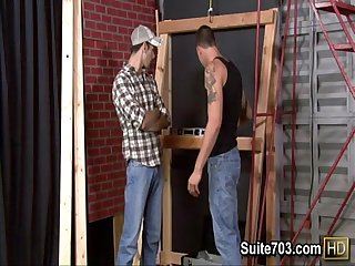 Sexy gay workers Cliff and Jake have sex at work only on Suite703