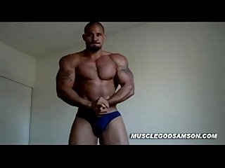 Hot black muscle flexing