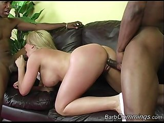 Barb Cummings Enjoys Interracial Threesome
