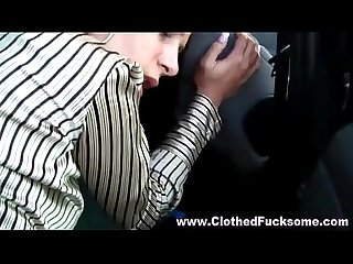 Clothed glamour euro couple blowjob