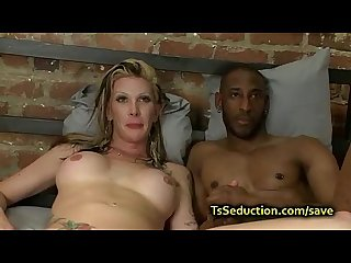 Blond tranny fucks huge dicked black guy