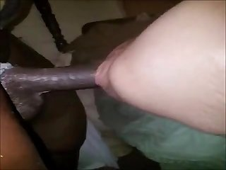 Big black cock stretching white pussy