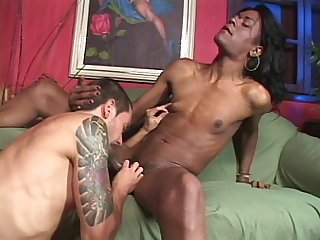 Ebony shemale with huge cock and white dude