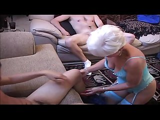 Hot swinging granny shared with two lucky young men