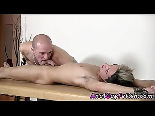 Gay fuck brit twink oli jay is roped down to the table his smooth