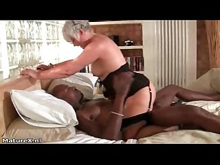 Horny grandma loves riding a big black