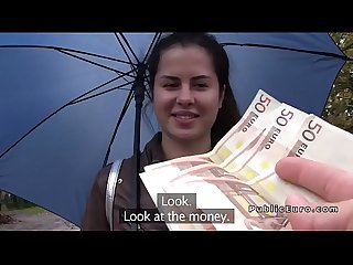 Brunette bangs stranger for travel money