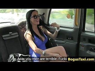 Busty inked amateur analfucked in back of cab