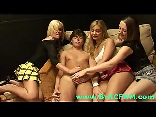 Young guy gets group handjob from CFNM girls