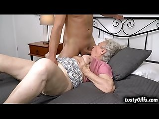 Hot male helper Rob helps her granny neighbor Norma B with her chores tand offers him to help her..