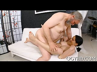 Cute young cutie fucked by old guy