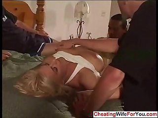 Busty milf is a cuckold wife