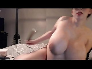 Horny pregnant bitch is playing with her toys