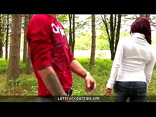 Amateur Horny Redhead Blows Boyfriend Outdoor in the Woods