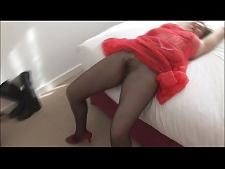 Busty hairy mature in pantyhose no panties