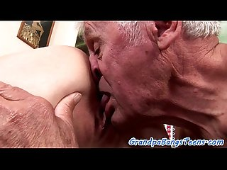 Cute Teen banged after grandpa licked her