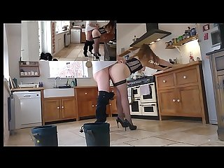 Uk exhibitionist housewife teasing then playing with the lucky unsuspecting window cleaner self shot