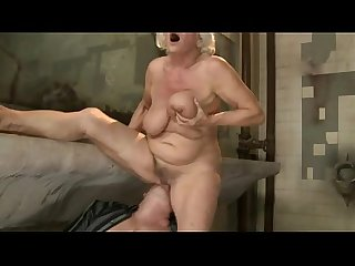 Blond old mature gilf enjoys hard ramming