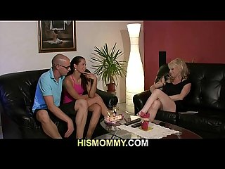 Naughty mom sucks and rides strapon-armed girl