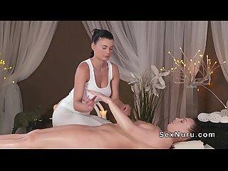 Beautiful busty lesbian masseuse with brunette