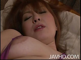 Araki hitomi in purple satin fingers and toys her pussy and plays with her ripe