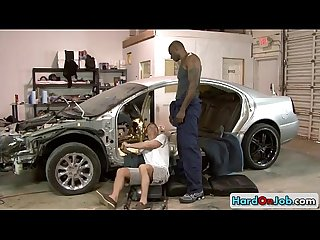 Car mechanic sucking huge black dick by hardonjob