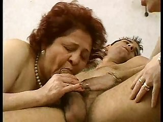 2 grandmas enjoy a hunk and his cock