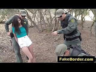 Scared brunette caught crossing border abused bareback by thick cock officer