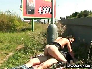 Couple caught fucking at public roadside