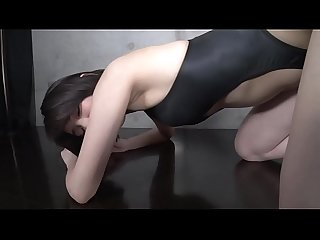 Yuki Ōsaki Front opening swimsuit black (part2) legs-fetish image video no sound..