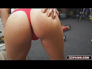 Sweet hot babe sucking a cock for quick cash