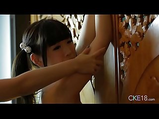 Shy japanese teen uri s body touched and massaged with oil