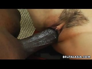 Smoking hot asian bitch has a black cock to ride