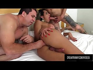 Gorgeous TS Leticia Menezes Gets Double Teamed by Two Horny Guys