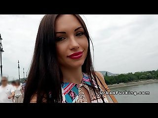 Beautiful russian babe bangs in public
