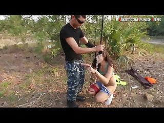 Teen slut Adrian Maya fucked hard while tied up in the woods