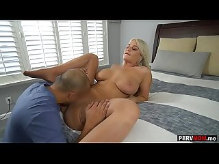 Licked my huge tits stepmoms pussy after a bad day at work