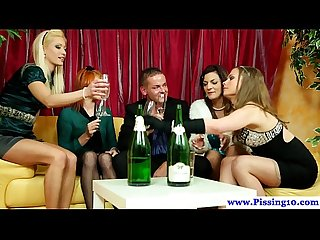 Piss loving euro babe peeing on glam babes